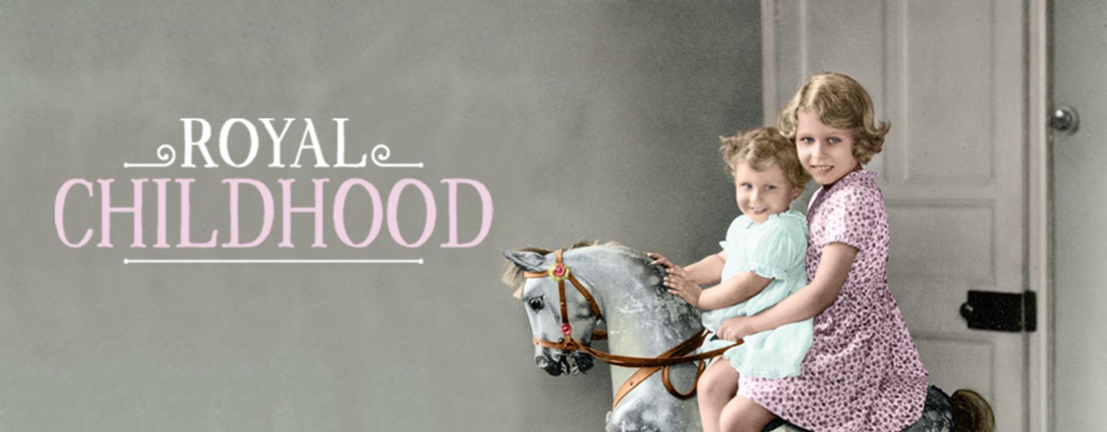 Royal Childhood exhibition depicting Princess Elizabeth and Princess Margeret on a wooden rocking horse