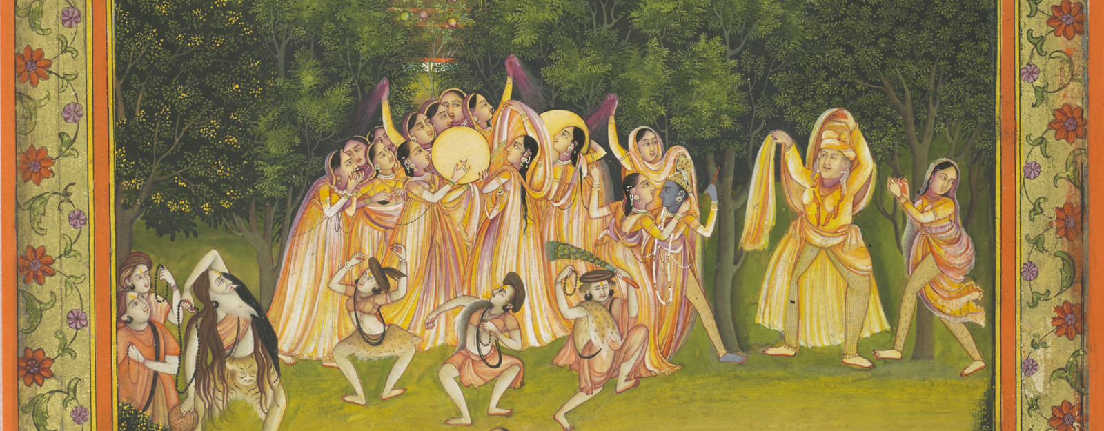 Krishna and the gopis celebrate holi