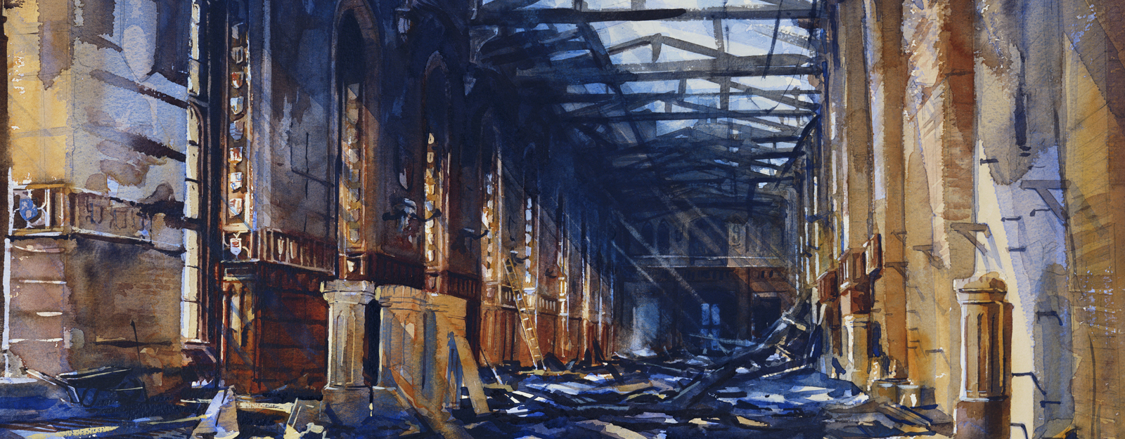 Watercolour painting of a detailed interior view of St George's Hall after the fire, showing the exposed ceiling and damaged fabric.