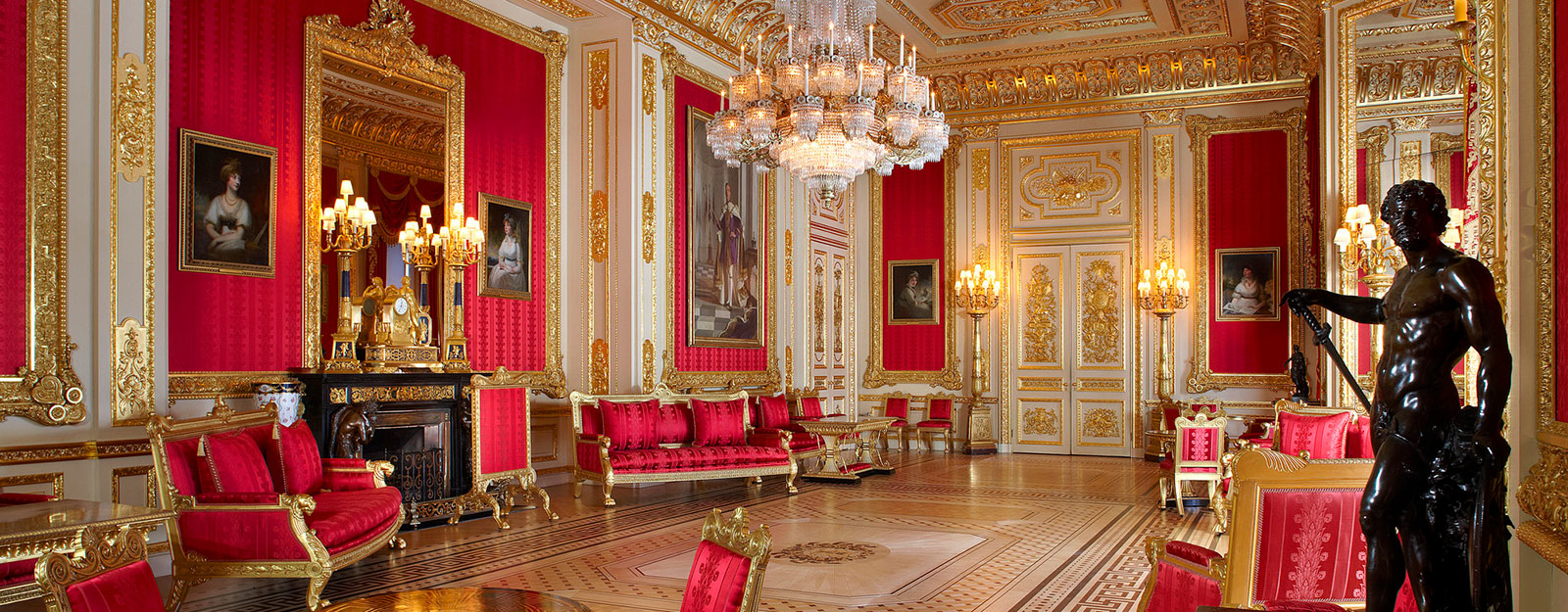 A view of the Crimson Drawing Room at Windsor Castle