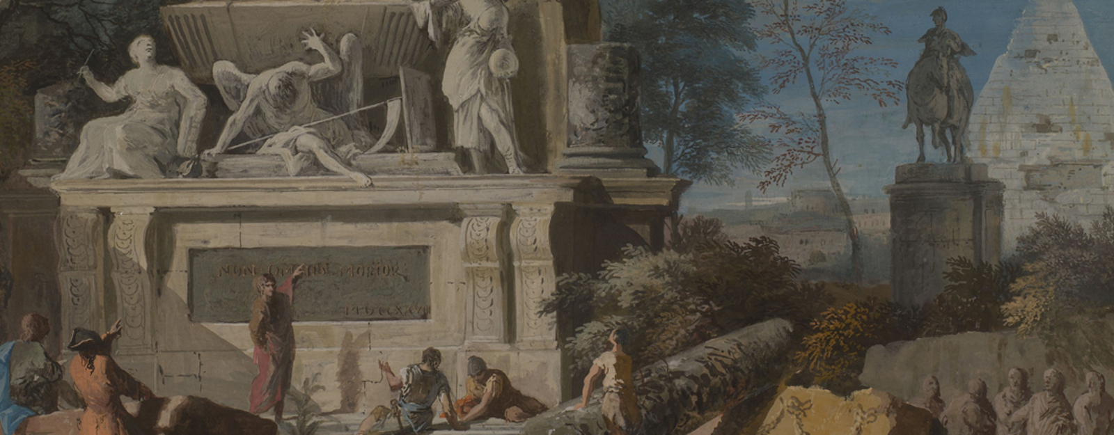 Painting by Marco Ricci - Landscape with an Allegorical Monument to Newton