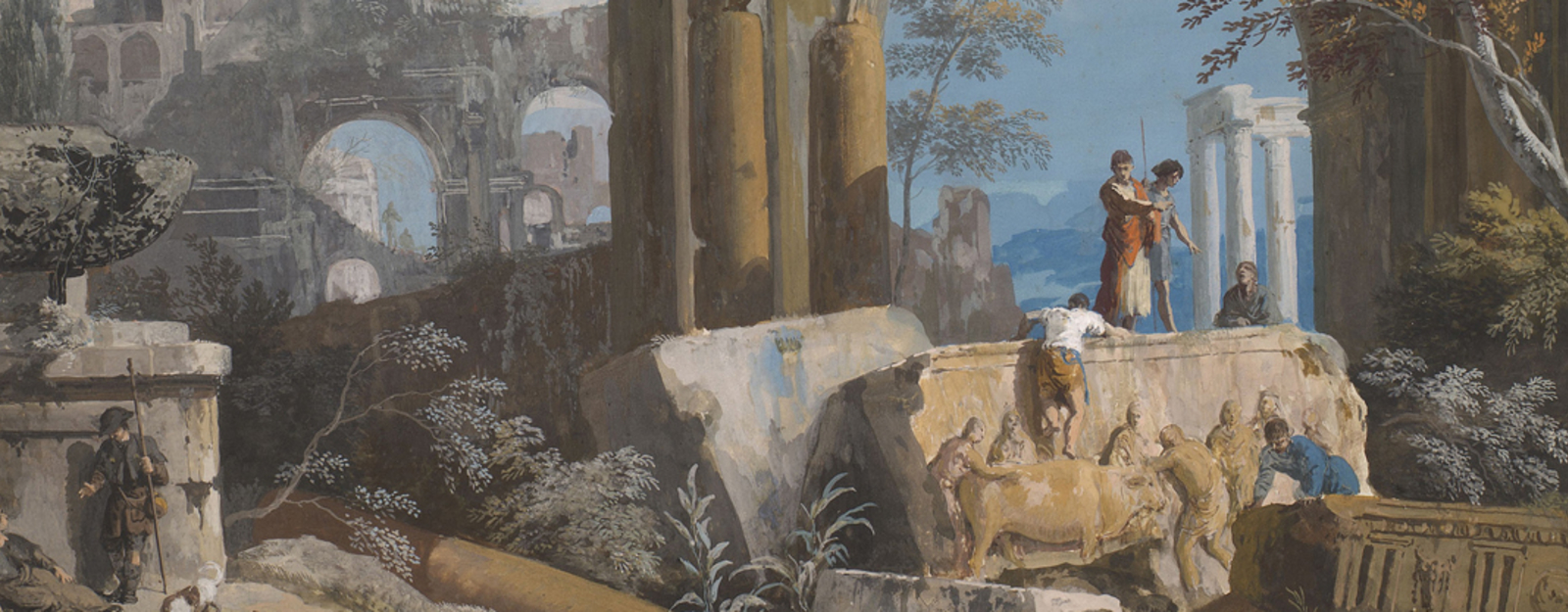 A painting by Marco Ricci - A Ruin Caprice with Roman Motifs