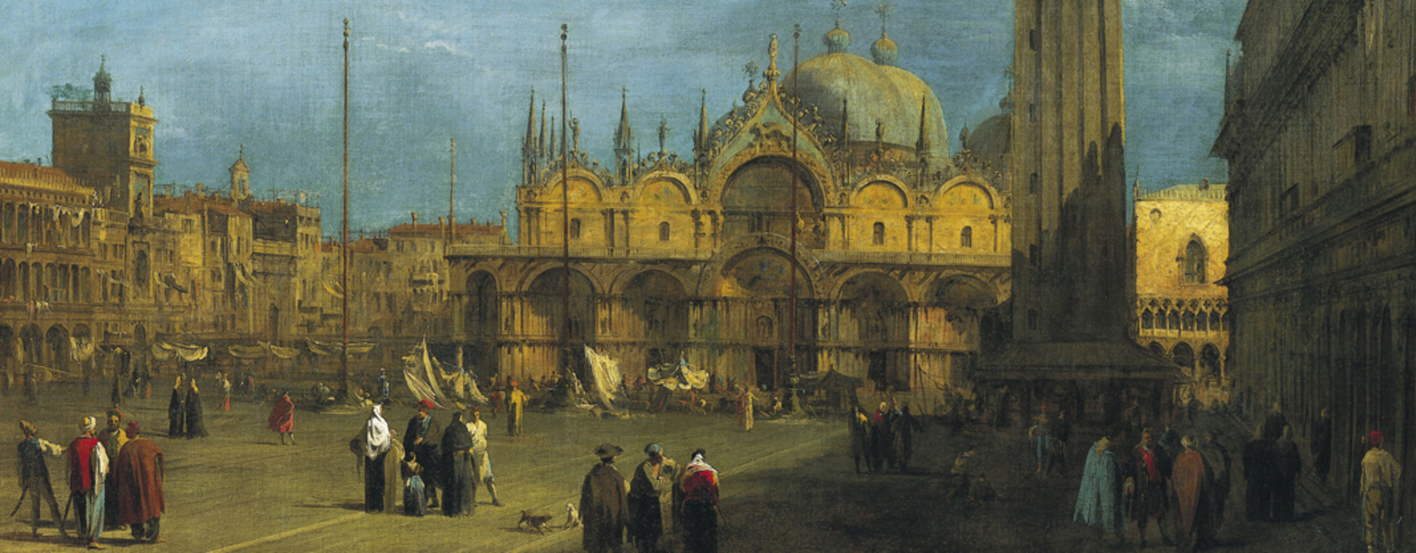 Painting by Canaletto - Piazza S. Marco with the Basilica and Campanile