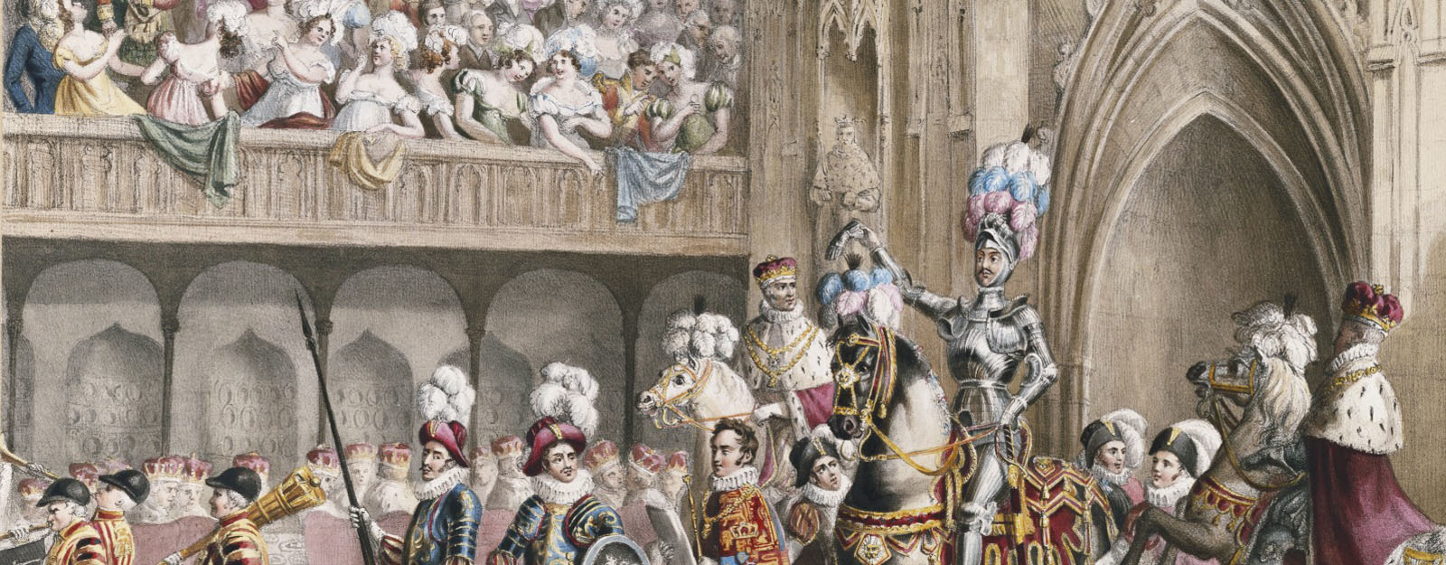 Hand coloured lithograph depicting 'King's Champion entering Westminster Hall, 19 July 1821