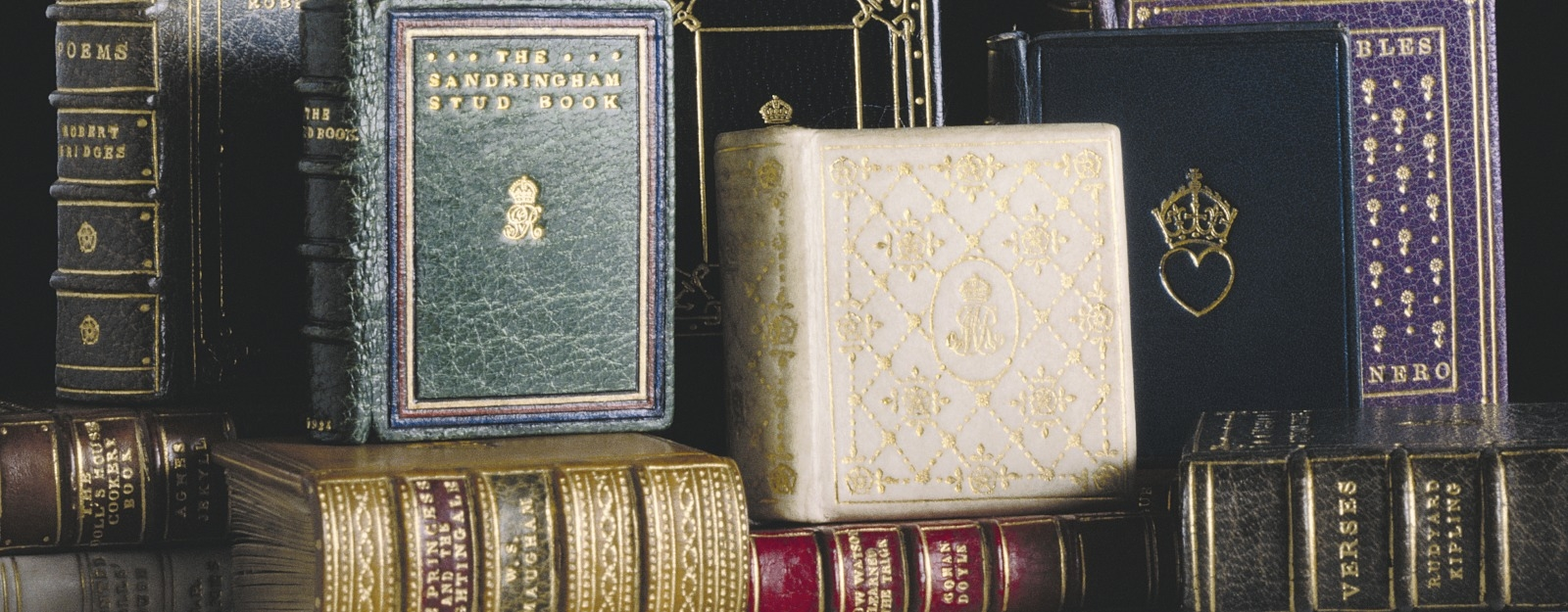 Miniature books from the library of Queen Mary's Dolls' House, Windsor Castle