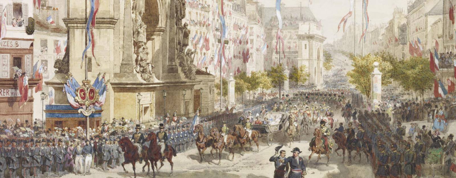 Подробно показаны прибытия королевы Виктории через толпы в Париже