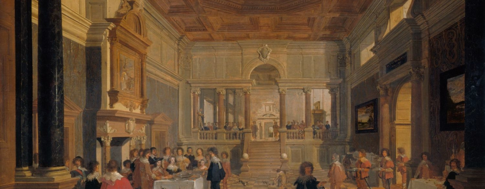 The interior is almost certainly imaginary (as opposed to being specifically of Whitehall Palace), although the event itself could have been witnessed by Houckgeest, who seems to have been at the English court sometime during the mid-1630s. Charles I owne