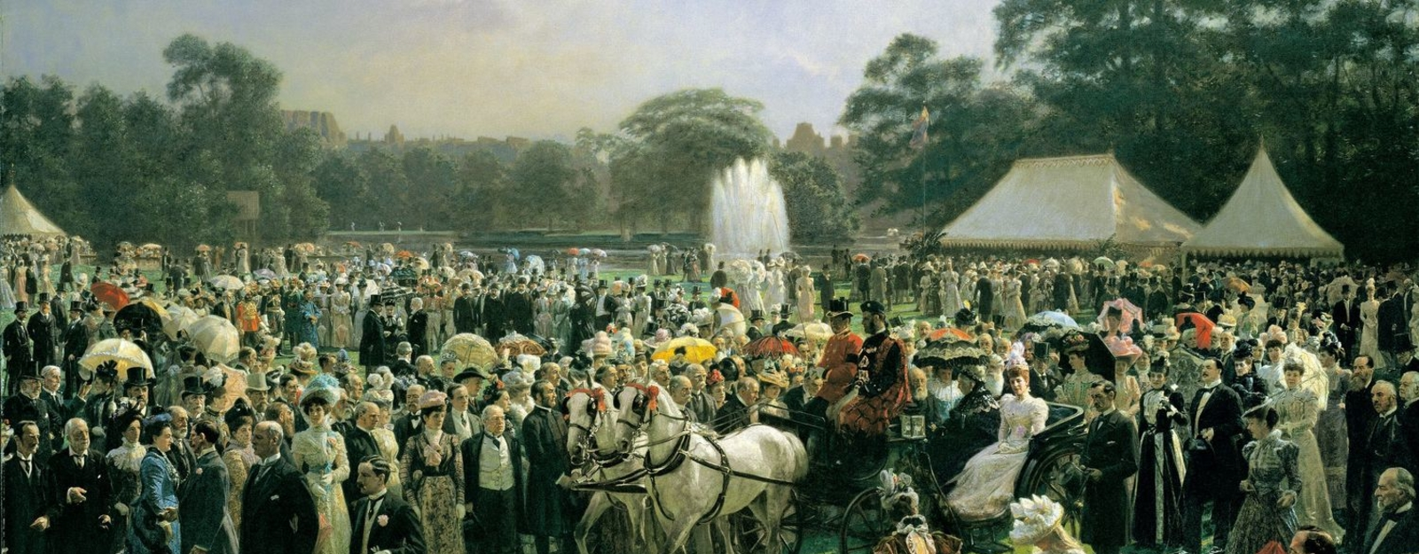 An oil painting of a garden party at Buckingham Palace. Queen Victoria and Alexandra, Princess of Wales are returning to the Palace in an open carriage pulled by two grey horses; in the garden, on the left, the Prince of Wales is conversing to a couple in