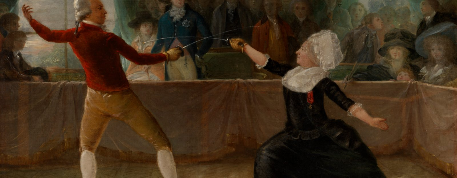 Painting of two people fencing, one man is dressed as a woman