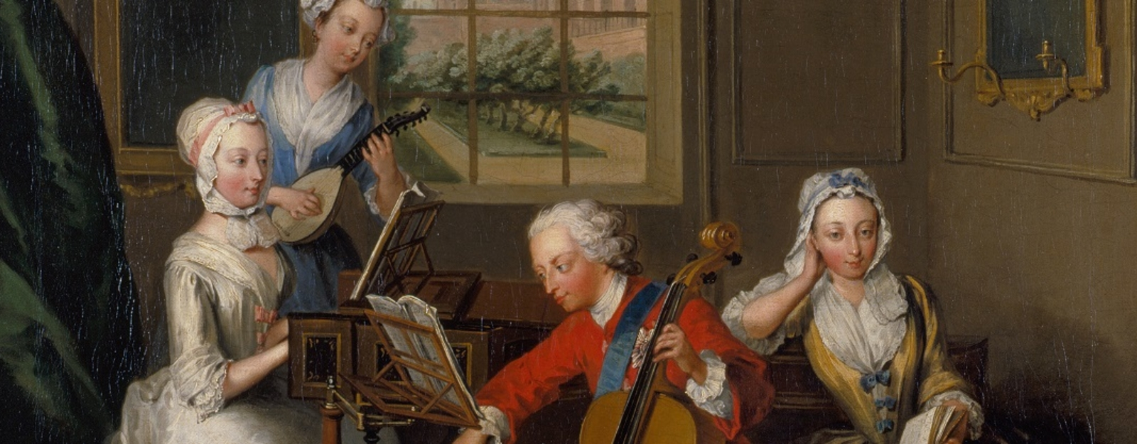 A group surrounds a harpsichord playing instruments