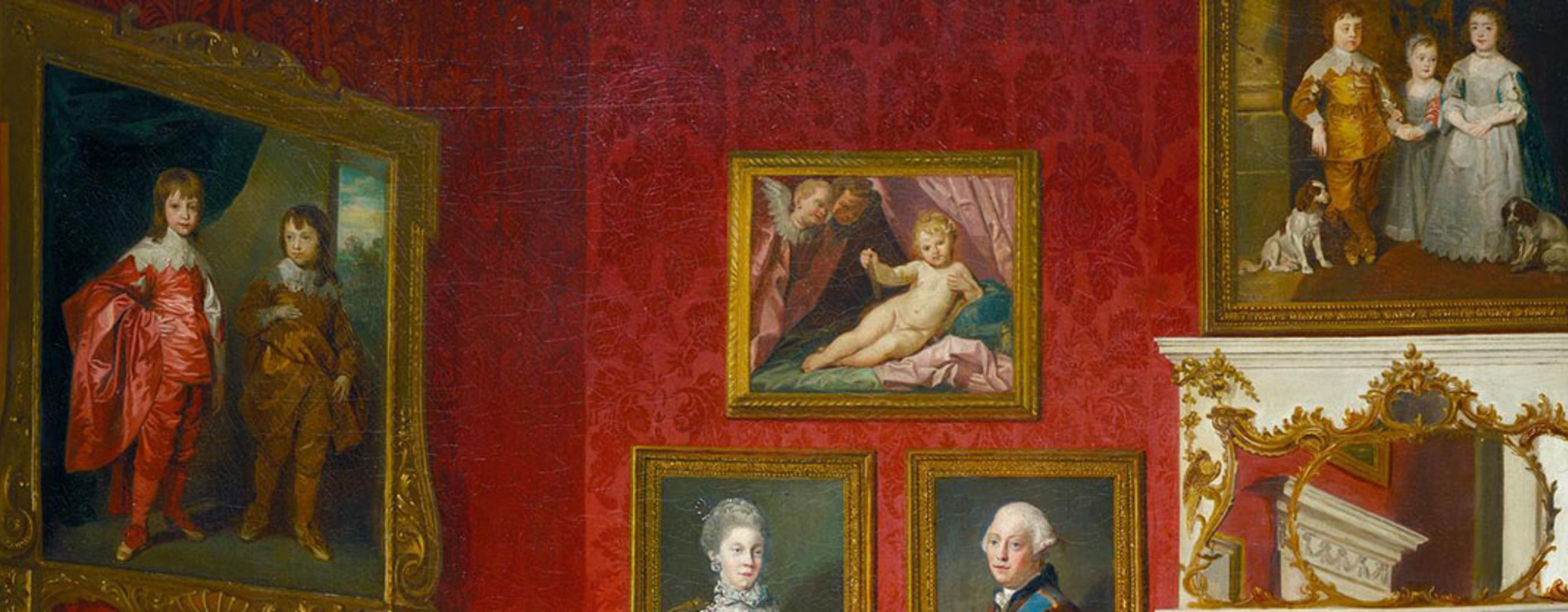 Detail from showing paintings hanging on the wall of Buckingham House
