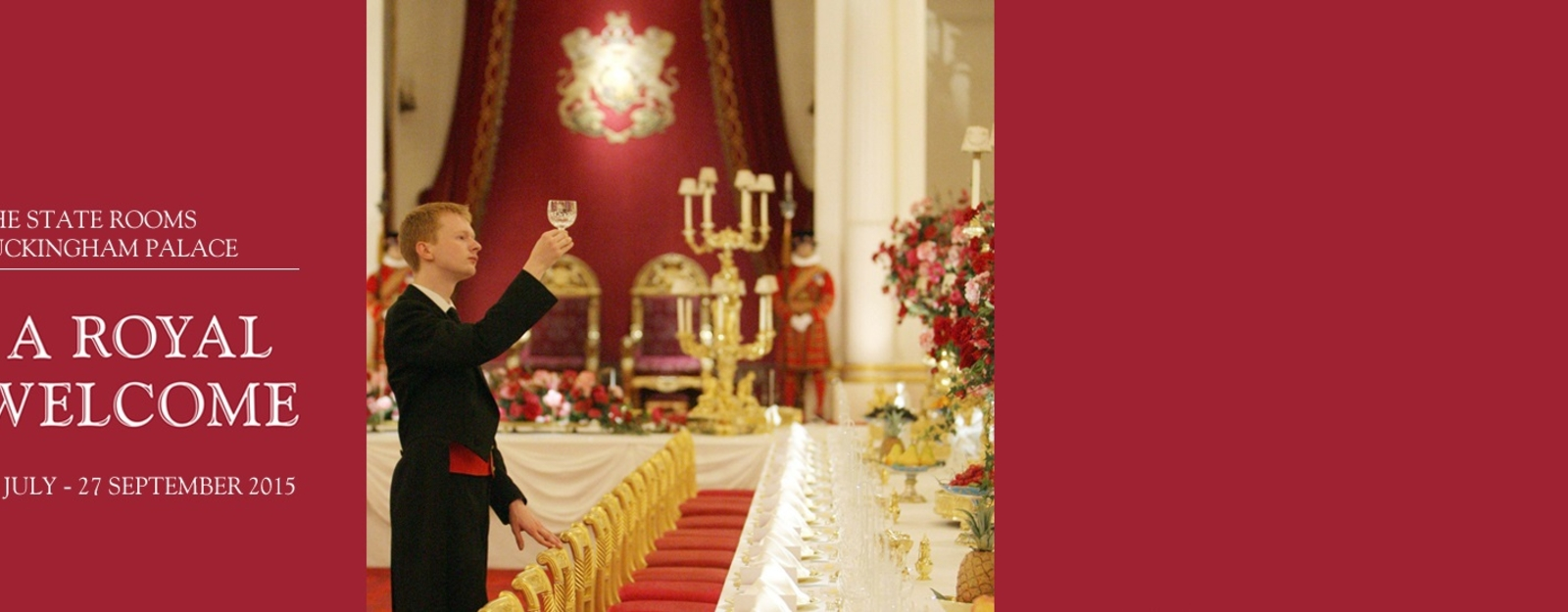 Footman checking preparations for a State Banquet at Buckingham Palace