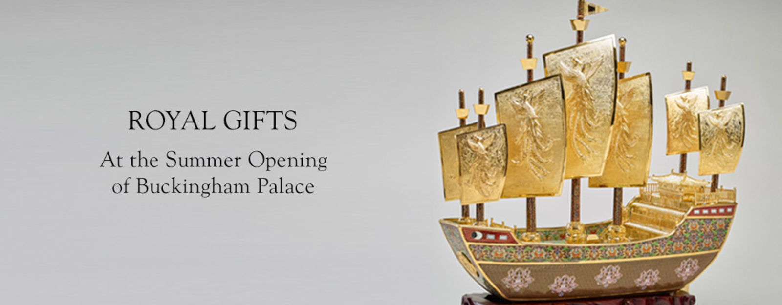 Detail of the Vessel of friendship, a gold model of a Chinese ship