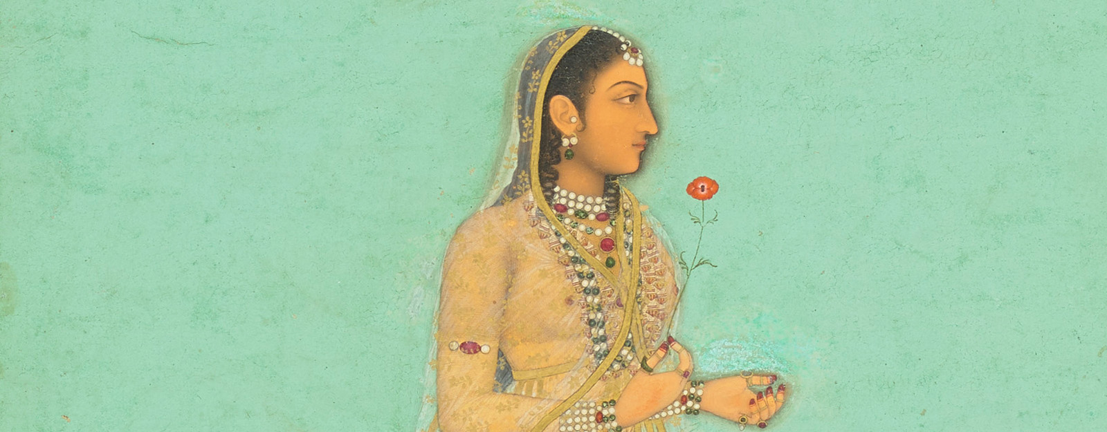 Illustration of an Indian woman holding a flower