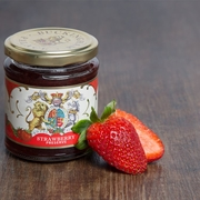 Strawberry jam jar with strawberry