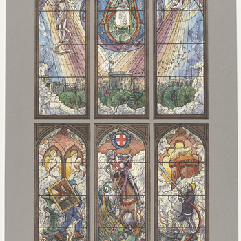 A watercolour design for a six-light stained glass window, in a mount which replicates the tracery of the window. In the top register, the Holy Trinity can be seen over Windsor Castle. In the bottom register, from left to right against a background of smo