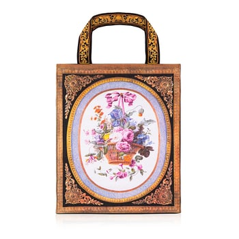 Cloth tote bag featuring a Sevres porcelain design