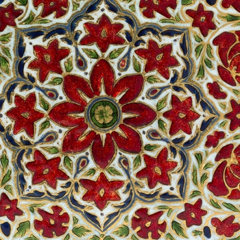 Enamelled detail of the centre ofa box