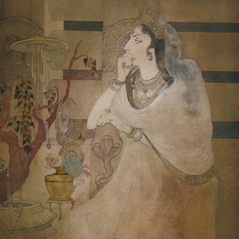 Indian miniature painting: Queen, three-quarter length, sitting in front of the railings of the Buddhist monument at Sanchi; looking scornfully at the Bodhi tree