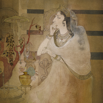 Queen Tissarakshita, three-quarter length, sitting in front of the railings of the Buddhist monument at Sanchi. The painting captures her conflicting feelings of triumph and regret as she stares at the wilting Bodhi tree, draped in jewels sent b