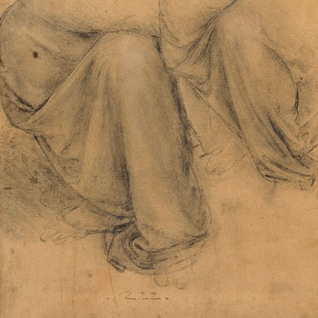 Two studies of drapery for the lower half of a seated figure, the one to the left on a rather larger scale. The left leg is facing the spectator, and the right leg is turned in profile to the left. This is probably a study for the drapery of St Anne in th