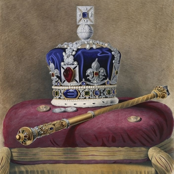 A coloured lithograph of the Imperial State crown witha blue velvet cap and the Black Prince's ruby in the centre; withfour commemorative coinsand themace on a red velvet cushion trimmed with gold. With aninscription below: T
