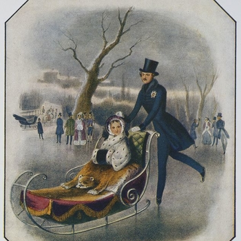<p>Relief colour half-tone of Queen Victoria and Prince Albert as queen and consort. Winter scene of Queen Victoria, in furs with a bonnet, seated in a sledge pushed along by Prince Albert on ice skates at Frogmore. With onlookers and a view of Windsor Ca
