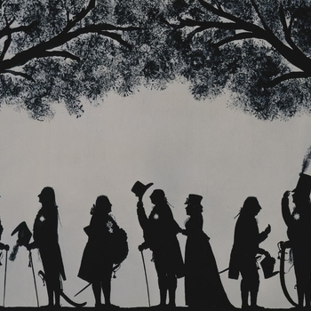 Silhouette: many well-to-do figures profile left to right.  Freize like. Trees left and right. (After an original at Althorp, collection of the late Earl Spencer)