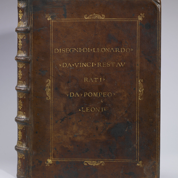 This is the leather binding of the album made up for Pompeo Leoni in the late sixteenth century to house over 500 of Leonardo's drawings, including all the anatomical studies now known. The album was brought to England, probably by the agents of Tho