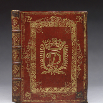 Contemporary red goatskin by Queens' Binders C, with the cipher of James II as Duke of York within palm fronds below a royal ducal crown on the covers; spine divided into five compartments, the first and last also numbered (now obscured) all with closed f