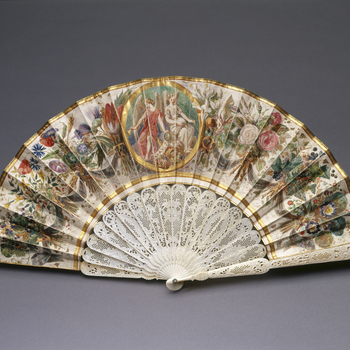 Leather leaves painted in watercolour, bodycolour and gold, over graphite under-drawing, with letters spelling VICTORIA linked by swags of ribbon, in the centre a roundel with two angels and a ribbon inscribed MAY 24th 1856, cornucopia and crown beneath,