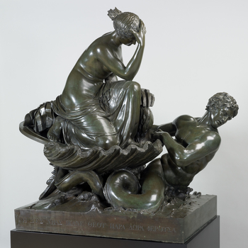 A bronze group of Thetis, partly draped and wearing sandals, her hand to her head, crouched in a large scallop shell, and carrying the newly-created armour of Achilles (sword, helmet, cuirass and greaves); the shell is borne by a double-tailed triton risi