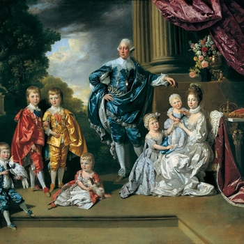 This painting (unlike Zoffany's earlier interior portraits of royal children) was evidently conceived as a public conversation piece, immediately engraved by Richard Earlom (1743-1822), published 29 October 1770, and exhibited at the Royal Academy.