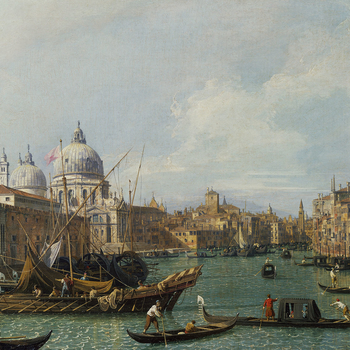 This is one of a series of twelve views by Canaletto of the Grand Canal which are all the same format. The pictures form the basis of the fourteen engraved plates in Visentini's <em>Prospectus Magni Canalis Venetiarum</em> (Venice, 1735), thus providing a