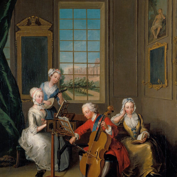 Philippe Mercier served as Painter and Librarian to Frederick, Prince of Wales, from 1728 until 1738. There are three versions of this celebrated image; the other two (National Trust and National Portrait Gallery) are set out of doors with the so-called &