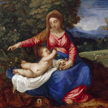 This painting was described by Ridolfi when he saw it in the Reynst collection as 'one of Titian's exceptional works' (una delle singolari fatiche di Titiano).The Virgin and Christ Child sit on the bank of a stream set in a landscape in