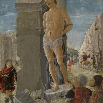 In the centre is Saint Sebastian, the Roman officer shot for his Christian beliefs. He is nude save for a loin-cloth and tied to a Corinthian column which forms part of a fragmentary triumphal arch. Arrows pierce him and his torment is being observed by s