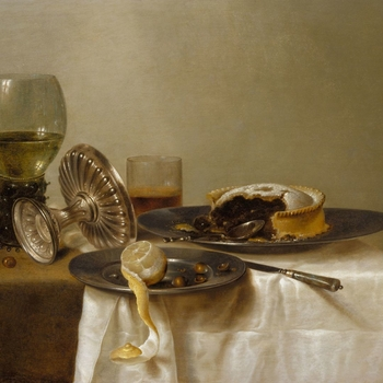 Heda devoted himself to still-life painting and was based at Haarlem throughout his life. Together with Pieter Claesz., he evolved a monochromatic style, portraying - as in the present example - a restricted range of objects: pewter dish, a glass beaker,
