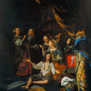 If the 'Delft School' of Vermeer and de Hooch, and the works of Gerard Ter Borch represent two strands in the transformation of Dutch genre painting, the third is provided by Gerrit Dou and his many followers. Godfried Schalcken studied with D