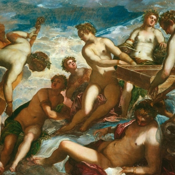 The nine Muses were originally seen as the divine inspiration for poetry, song and dance, but gradually became the emblems for all the liberal arts. With Apollo (represented as the sun) they also symbolised the 'harmony of the spheres'. Here T