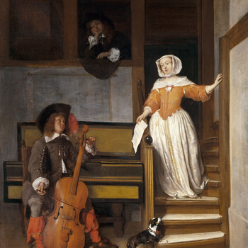 A young woman descends a staircase dangling a page of sheet music from her right hand. She looks down at a young man tuning a cello. He is seated in front of a spinet and rather incongruously wears a hat. Above is another young man looking on at the proce
