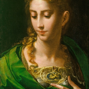 The figure is identified by the cameo on her breastplate as Pallas Athene, the warrior, goddess of wisdom and patron of Athens. Parmigianino has stylised and distorted the figure of the goddess to create a mannerist ideal of beauty. The subject in this pa