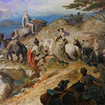 Painted by the Bavarian watercolourist, Carl Haag, this picture shows the Queen and Prince ascending Lochnagar, on the Balmoral estate, accompanied by the royal children, their governess Miss Bulteel and a number of gillies. The snaking procession and the