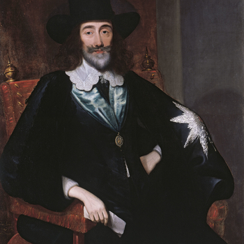 Charles I is here depicted in the last month of his life, facing the charges brought against him by the Parliamentarians. Following his defeat in the Civil War he was brought to trial before the High Court of Justice in the Great Hall at the Palace of Wes