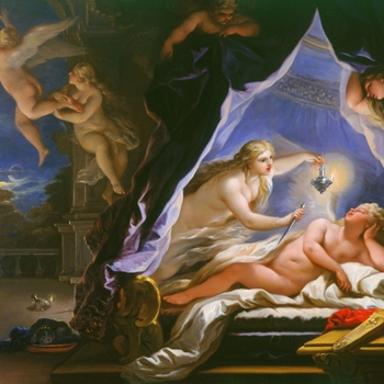 This painting is the eighth in a set of twelve in the Royal Collection depicting part of the story of Cupid and Psyche. The subject of this series comes from The Metamorphoses or Golden Ass by the second-century AD writer Apuleius: it is one of the storie