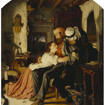 A corporal in the Scots Fusilier Guards has arrived home in the early hours of the morning after completing a tour of service fighting in the Crimean War (March 1854 - Feburary 1856). His wife and mother put down their sewing and reading to embrace him as
