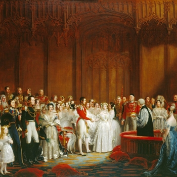 The ceremony took place on the morning of 10 February 1840 in the Chapel Royal, St James's Palace. Queen Victoria and Prince Albert clasp hands at the altar rails, before the Archbishop of Canterbury.<br> <br>The Queen had been pleased with Sir George Hay