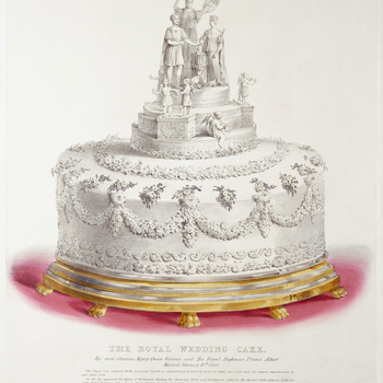 A hand-coloured lithograph of one of the royal wedding cakes produced for the wedding of Queen Victoria and Prince Albert on 10 February 1840. Lettered below with title, publication details and a description of the cake and its decoration.This circular ca