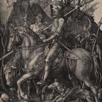 This virtuoso engraving by Dürer shows a lone knight riding through an oppressive landscape. A dog runs at his horse's feet, and Death holds aloft an hourglass while the Devil stalks behind. Although the meaning of this print has not been satisfactoril