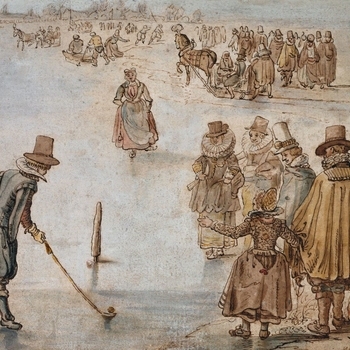A pen and ink and watercolour drawing of a scene on the ice, with a man on the left, watched by a peasant in a cap, about to putt a ball towards a marker. He is watched by a group of elegantly dressed figures and a dog on the right. A woman skates forward